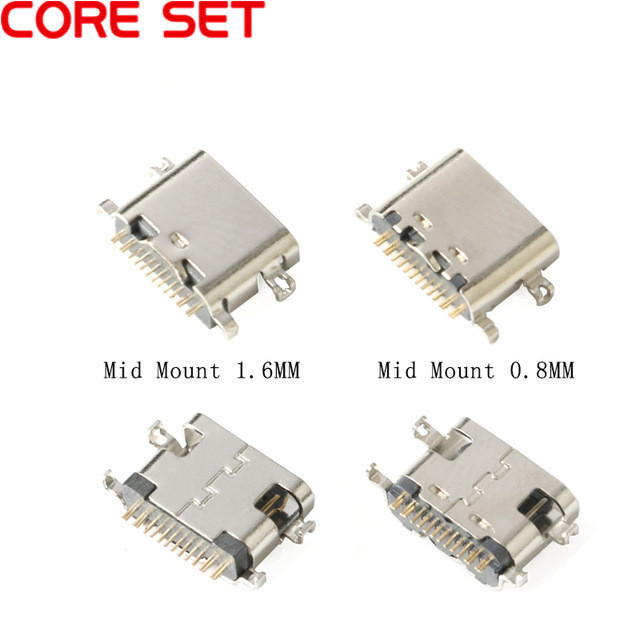 <font><b>10pcs</b></font> <font><b>USB</b></font>-3.1 SMT <font><b>USB</b></font> <font><b>Connector</b></font> Type C Horizontal Mid Mount 16P Female 1.6mm through board 0.8mm for charger adapter DIY Type C image
