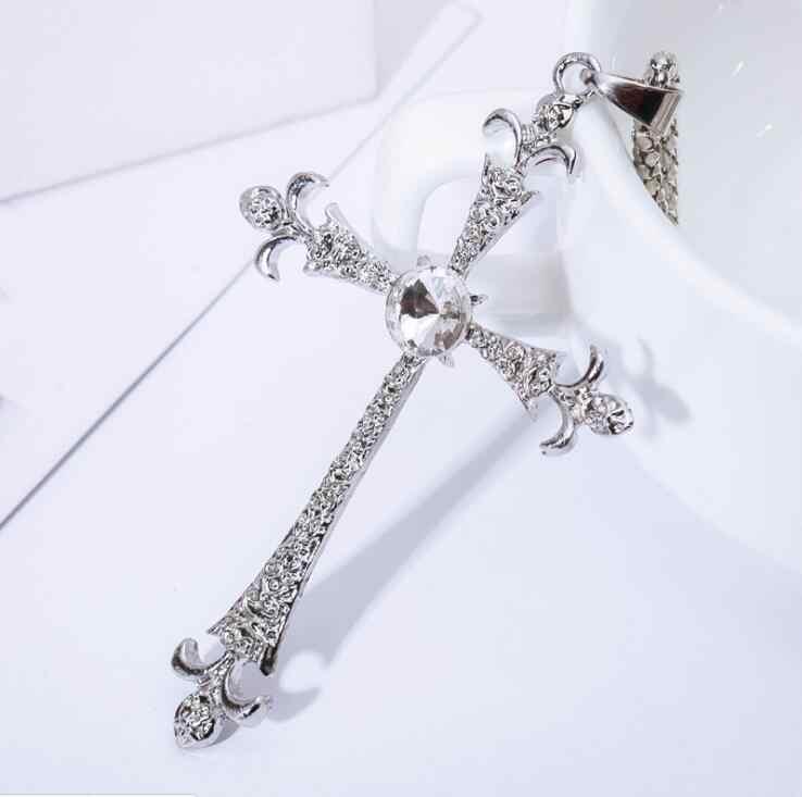 2017 nowy wysokiej jakości krzyż jezusa chrystusa naszyjniki biały złoty kolor moda wisiorek – biżuteria cyrkonia kryształ hurtownie