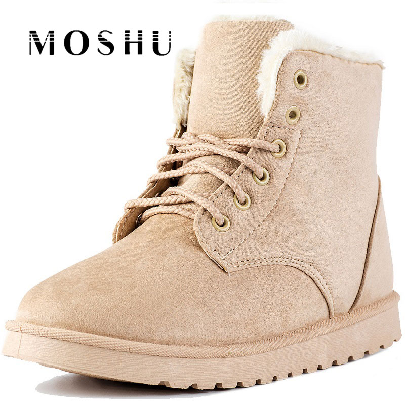 2017 Fashion Women Ankle Boots Female Suede Winter Snow Boots Lace Up Plush Shoes Fur Botas Mujer women boots winter shoes female plush inside snow boots high quality flock ankle boots lace up flats women shoes botas fashion