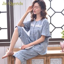 Pj Set for Woman New 100% Cotton Floral Print Blue Button Ruffles Cuff Plus Size Nightwear Loungewear Calf-Length Pants Pajamas(China)