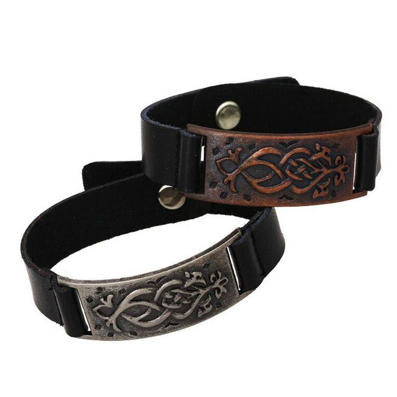 1 St Groothandel Vintage Mannen Armbanden Antieke Zilveren Lederen Wrap Armband Polsband Manchet Tibetaanse Sieraden Persoonlijkheid Mannelijke Bangle Geurige (In) Smaak