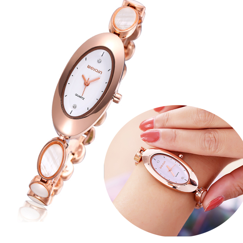 New Style Brand Gold Oval Dial Watch Relojes Women Sexy Ladies Watches Clock Female Opal Dress Strap Luxury Wristwatches WEIQIN weiqin new 100