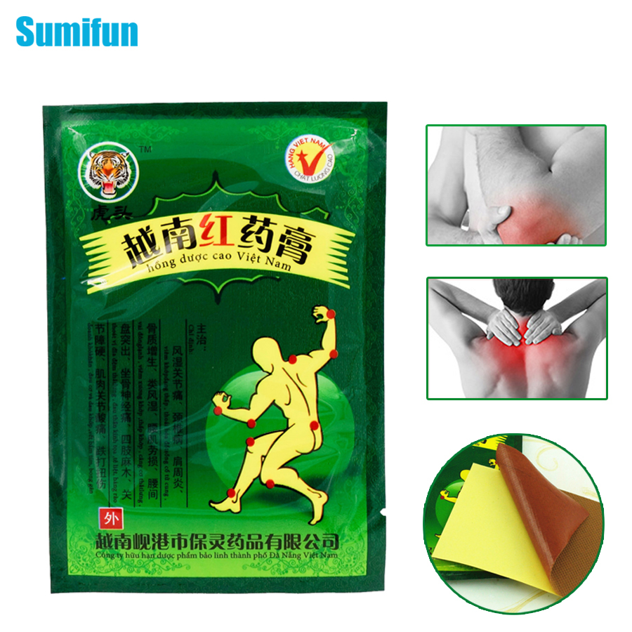 8Pcs Sumifun Vietnam Red Tiger Balm Back Body  Relaxation Herbal Plaster Pain Relief Patch Medical Plaster Ointment Joints C075