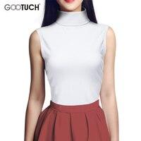2017 Summer Women Cotton Mock Neck Top Turtleneck Sleeveless T Shirt Slim Fit High Collar Vest