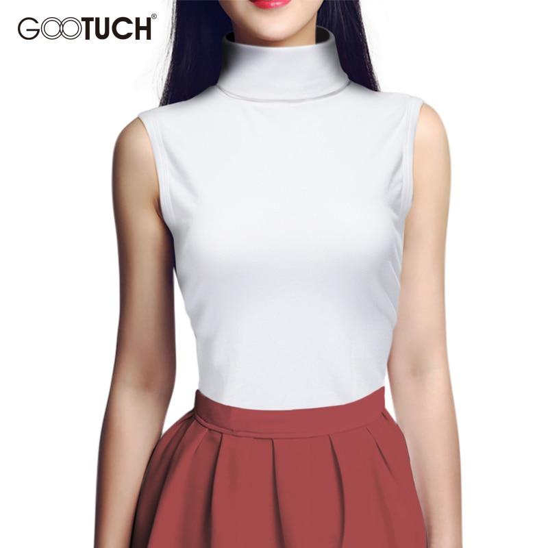 Women Summer Sleeveless T-shirt Mock Neck Top Turtleneck Sleeveless Shirt Slim Club Knitted Vest Female Plus Size T Shirts 2560