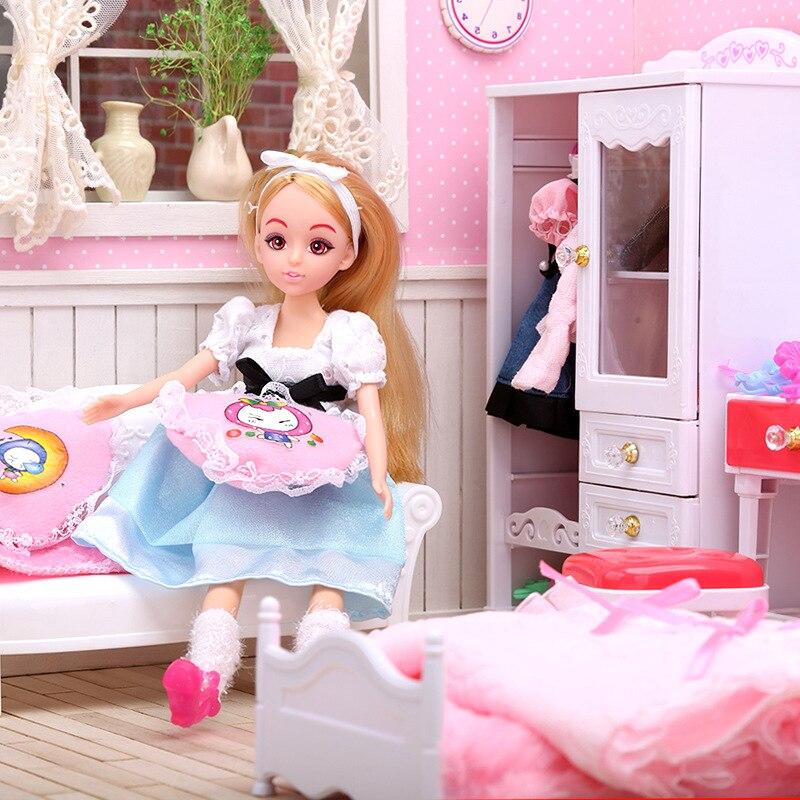 5-i-1 Super Miniatyr Sovrumsmöbler Kombination Dollhouse Toy - Dockor och tillbehör - Foto 3