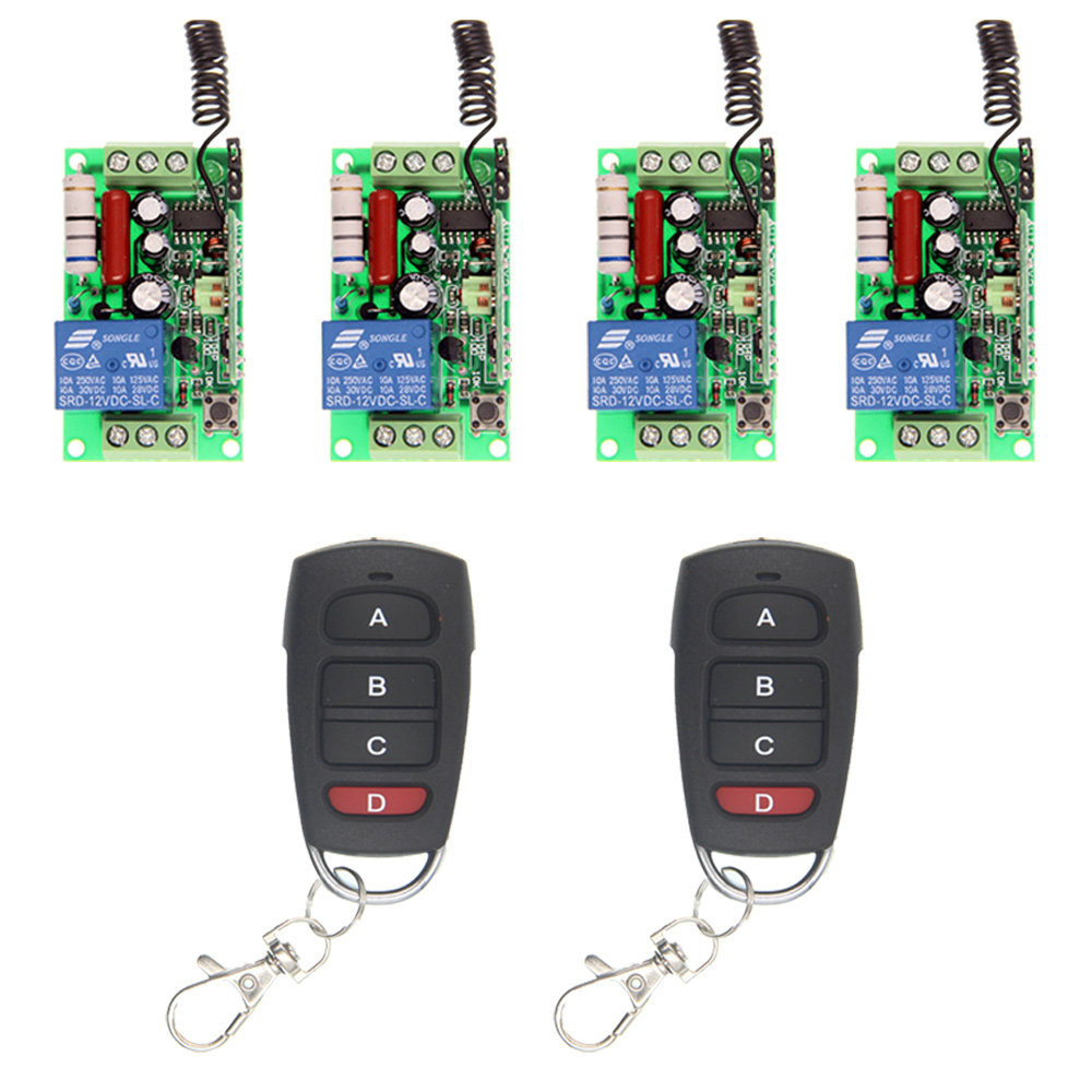 Wireless Remote Control Switch 315 433 MHz 220V 110V Module + 1CH 4 CH Button RF Remote Control For Light and Window
