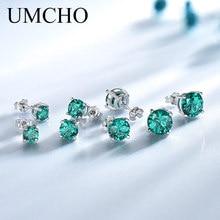 UMCHO, настоящее 925 пробы, серебряные ювелирные изделия, создан русский изумруд, серьги-гвоздики, элегантные, юбилейные, для женщин, подарки на день рождения