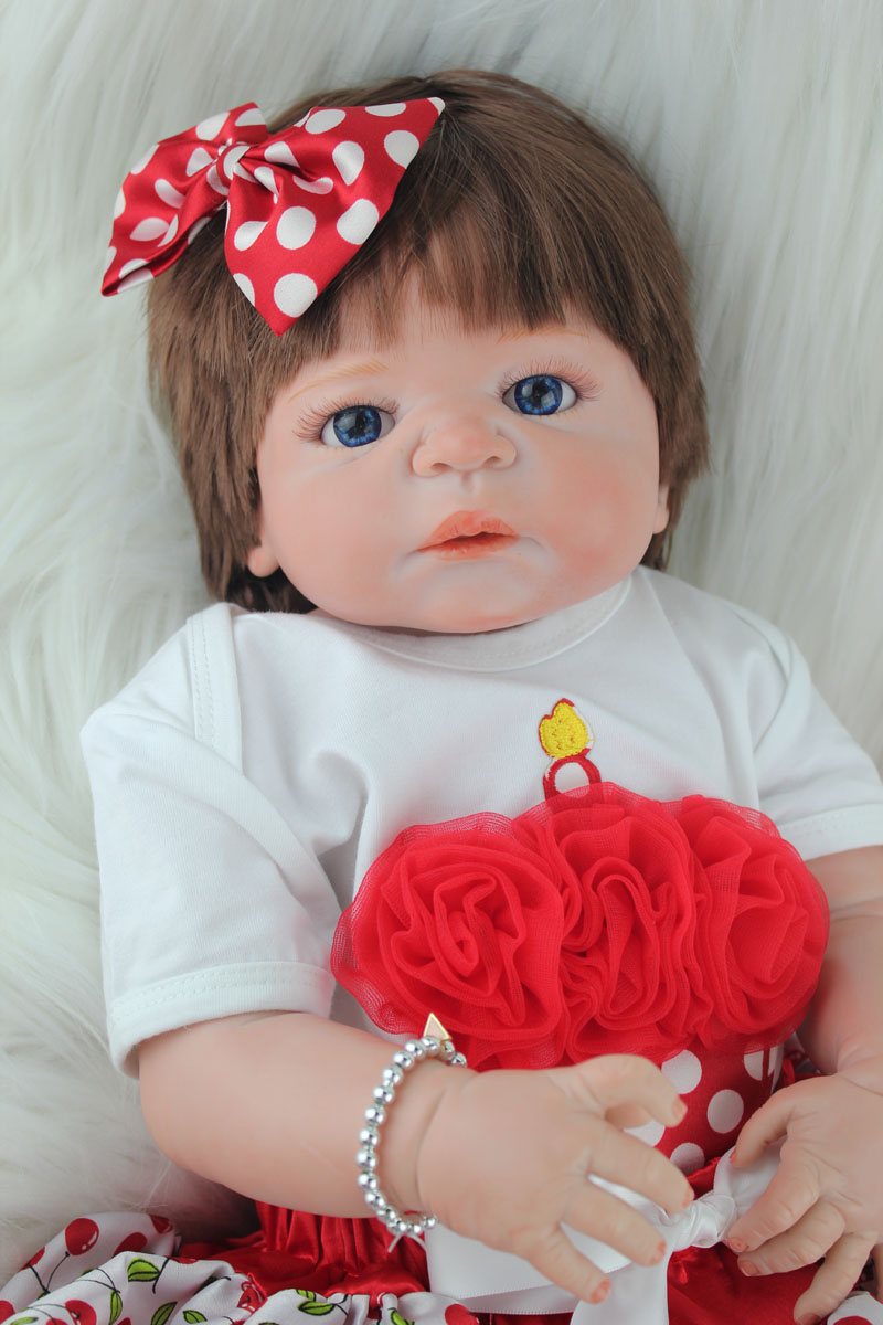 Full Silicone Reborn Baby Girl Doll Toys Realistic 55cm Princess Newborn Babies Dolls Lovely Birthday Gift Present Bathe Toy new lovely rabbit baby full silicone reborn babies dolls toys the best birthday present gift for kid child bathe shower toys