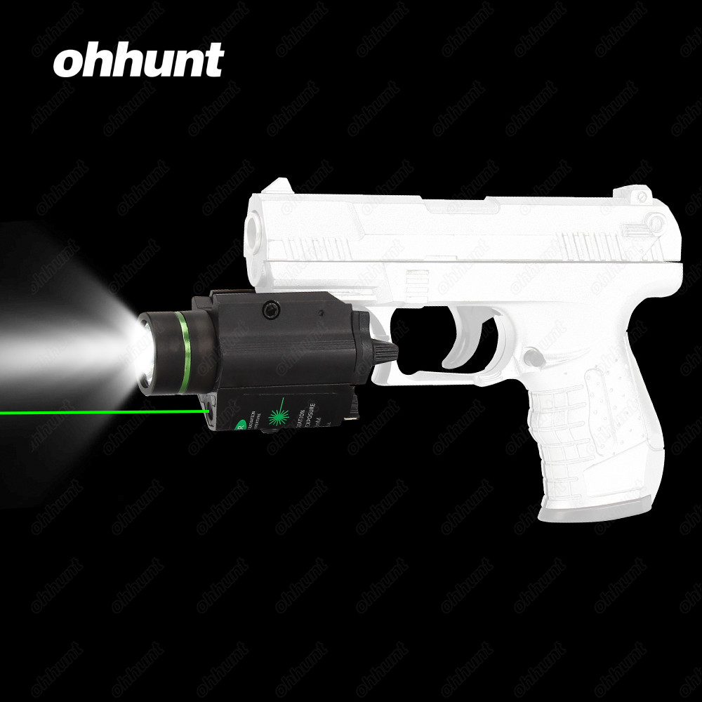 Hunting ohhunt Ultra Bright 200 Lumens LED Flashlight and Green Laser Combo with Weaver Picatinny Type Mount For Pistol M4 Rifle ohhunt tactical led flashlight with green laser sight combo white light 200 lumens picatinny rail mount for pistol