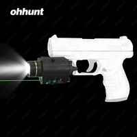 Hunting ohhunt Ultra Bright 200 Lumens LED Flashlight and Green Laser Combo with Weaver Picatinny Type Mount For Pistol M4 Rifle
