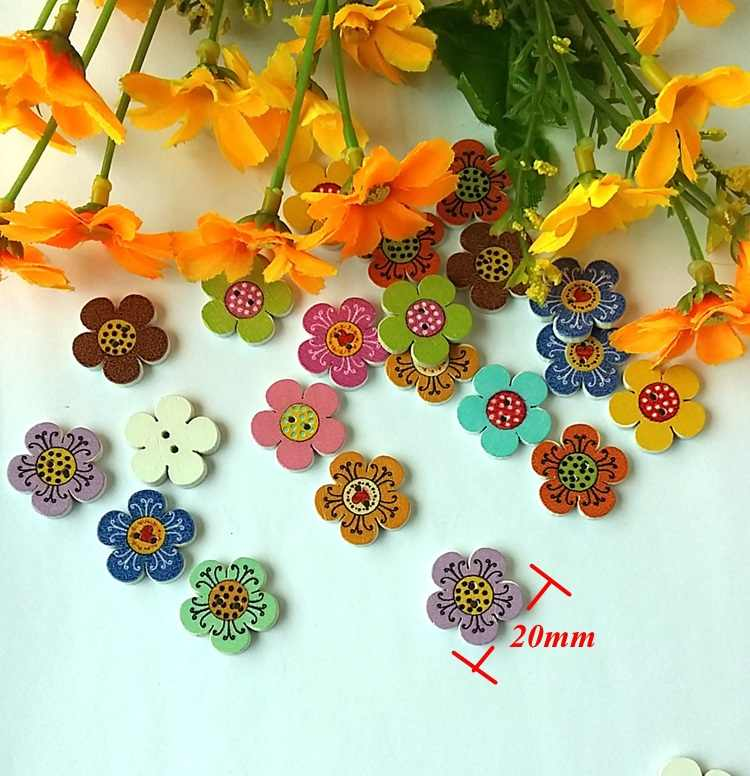 New 50pcs 20mm Clear Flower Plastic Buttons Sewing Craft 2 Holes