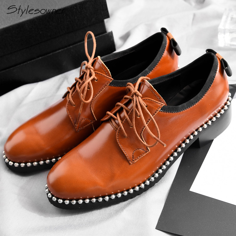 Stylesowner Euro Design Women Lace Up Cow Leather Zapatos Mujer Metal Beading Lady Leisure Shoes Butterfly Knot Single HeelShoesStylesowner Euro Design Women Lace Up Cow Leather Zapatos Mujer Metal Beading Lady Leisure Shoes Butterfly Knot Single HeelShoes