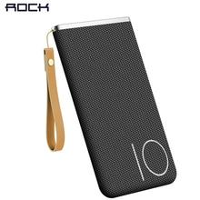 ROCK Universal 10000 mAh Power Bank For Mobile Phone Portable Polymer Type C Phone 10000mAh Powerbank  Battery Braid Bag Lanyard