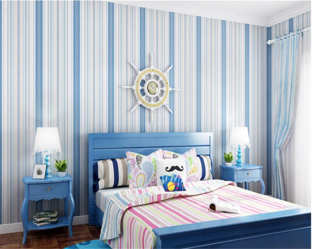 beibehang Mediterranean blue striped 3d wallpaper non-woven bedroom pink living room background wall papel de parede wall paper