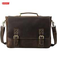 Men's Briefcase Male Handbags Shoulder Crossbody Bags Retro 16 Inch Laptop Business 2020 Crazy Horse Leather First Layer Leather