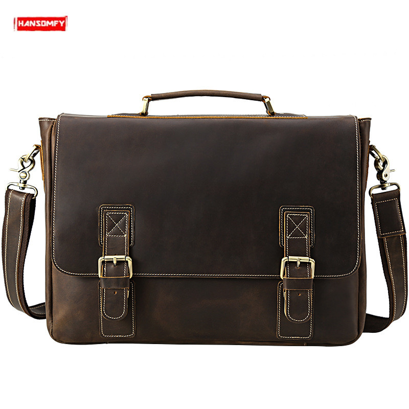 Retro Crazy Horse Leather Men's Briefcase First Layer Leather Male Handbags 16 Inch Laptop Business Shoulder Crossbody Bags 2019