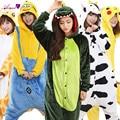Flannel Onesies Adult Animal Owl  Dinosaur Cow Totoro Cosplay Pyjamas For Man and  Woman Home Sleepwear CS16540