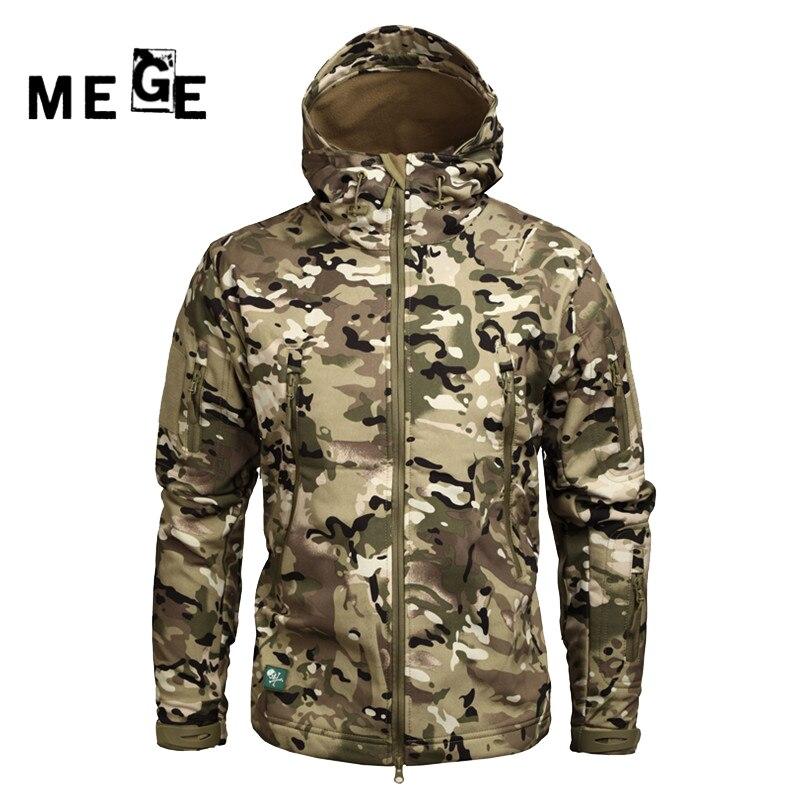MEGE Men Jackets Outdoor SoftShell Sharkskin Winter Coat Military Army SWAT Hunting Sports Training Windproof Hoodies