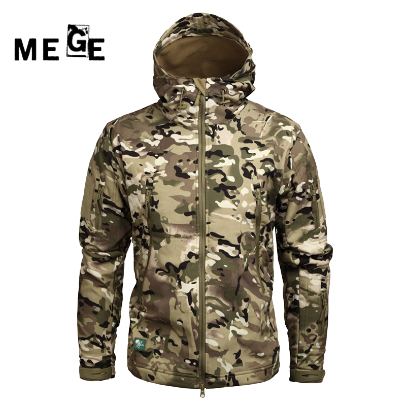 MEGE Men Jackets Outdoor SoftShell Sharkskin Winter Coat Military Army SWAT Hunting Sports Training Windproof Hoodies Clothing цены