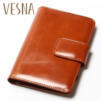 100% New Fashion Short Retro Vintage Cowhide Oil Wax Leather Wallet Multinational Card Holders Coin Purse Women Short Walelts