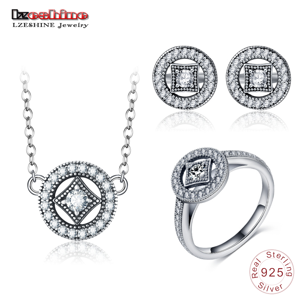 LZESHINE 925 Sterling Silver Vintage Jewelry Set Round Shape CZ Stud Earrings/Necklace/Ring Set Silver Charm Jewelry For Women pe hagit fashion 1 pair round shape vintage stud earrings for man trendy party black earrings jewelry men