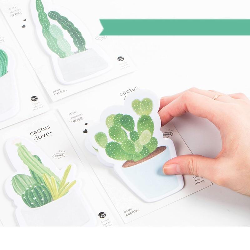 4 stks / partij Groene Cactus plakbriefjes Groene planten memo pads - Notitieblokken en schrijfblokken bedrukken - Foto 6