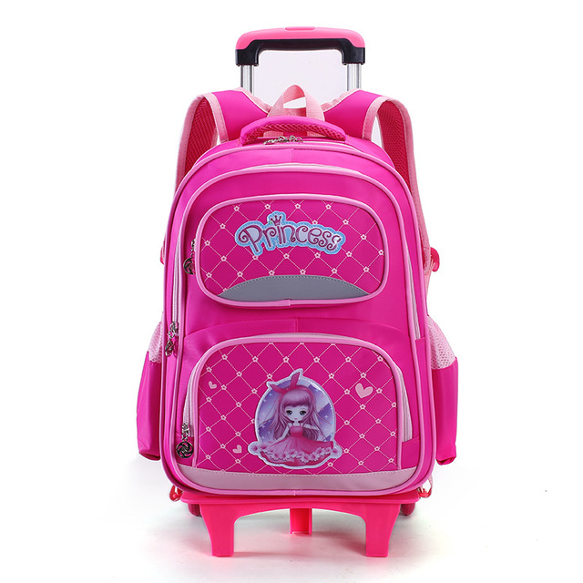 Removable Trolley Children School Bags S Wheels Stair Kids Princess Schoolbag Luggage Book Bag