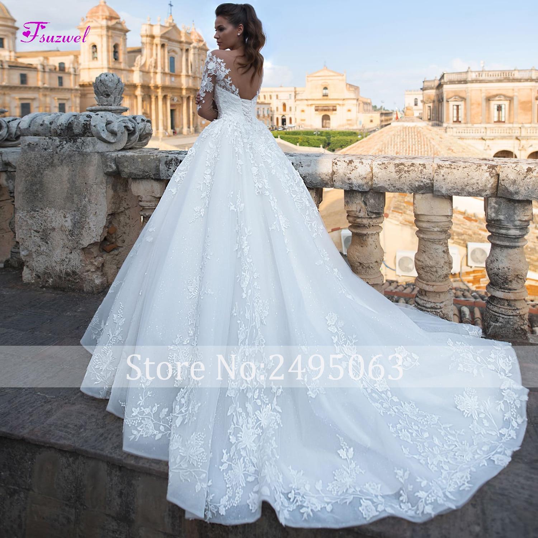 Fsuzwel New Luxury Appliques Court Train A-Line Wedding Dresses 2019 Fashion Scoop Neck Lace Up Princess Bridal Gowns Plus Size
