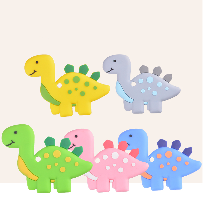Dinosaur Shaped Food Grade Silicone Baby Teethers Pendant Necklace Accessory BPA Free Chew Toys 5 Colors(China)