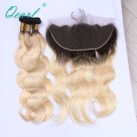 Qearl ombre блондинка Цвет утки волос 3 Комплект с 13*4 уха до уха Синтетический Frontal шнурка волос перуанской Реми Человеческие волосы 1B /613 Ombre волос