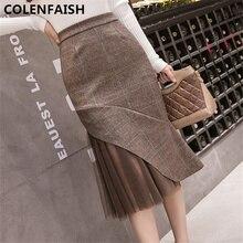 2018 otoño y el invierno de la moda Retro de pliegues falda Irregular de  alta cintura sexy bifurcación de las mujeres falda de M.. 94b2c9bfca43