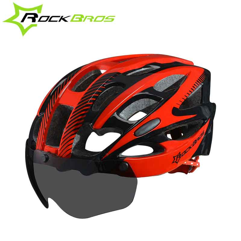 ROCKBROS Bicycle Helmet With Lenses for men Windproof Integrally-molded 28 Vents MTB Road MTB Bicycle Helmet bicycle equipment rockbros men
