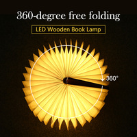 Folding Book Light LED NightUSB Port Rechargeable Wooden Magnet Cover Home Table Desk Ceiling Decor Lamp
