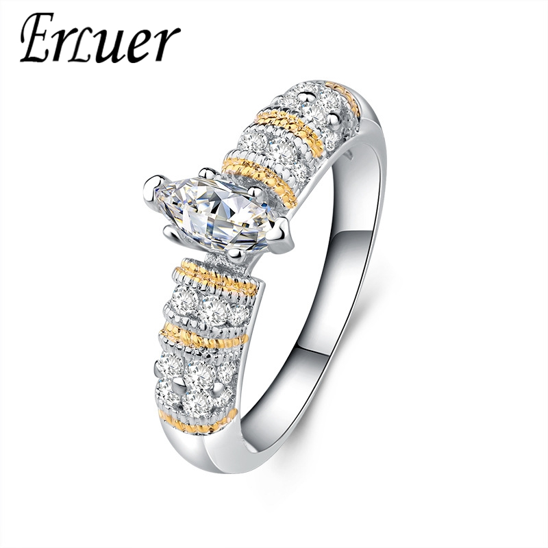 Zircon Jewelry Gifts Ring Wedding-Rings Crystal Engagement Silver-Plated Fashion Women