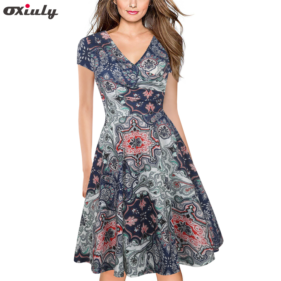 Oxiuly Women Multicolor Floral Totem Print Ruffle V Neck Vintage Short Sleeve Knee Length Ladies Casual A-Line Dress Vestidos