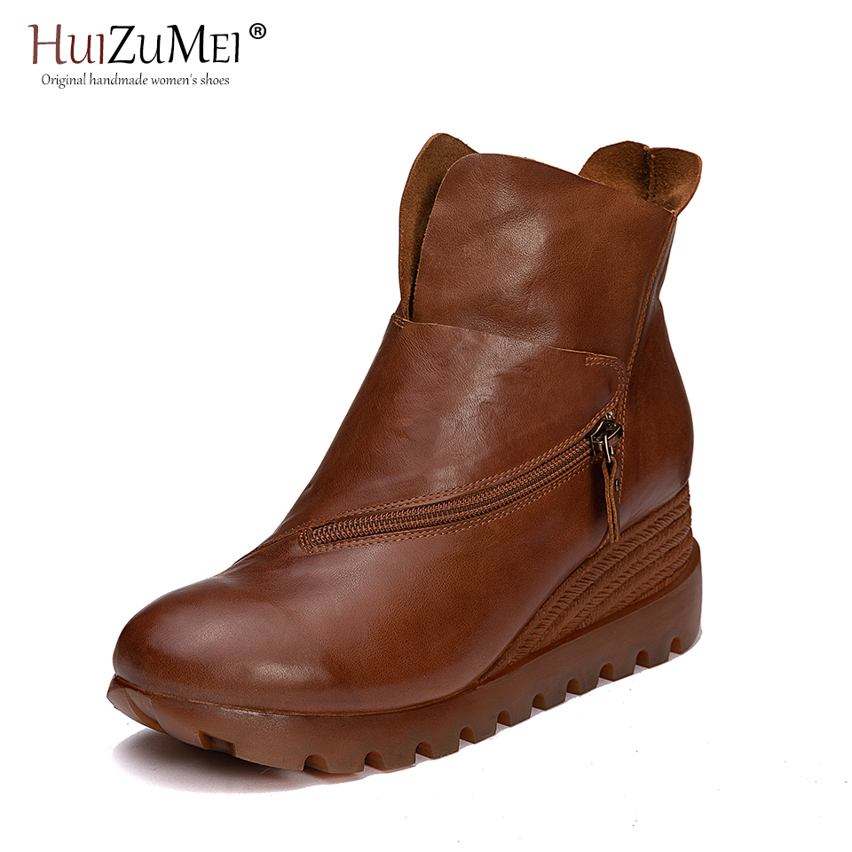 HUIZUMEI 2018 autumn and winter the new genuine leather ladies flat bottomed round headed womens short bootsHUIZUMEI 2018 autumn and winter the new genuine leather ladies flat bottomed round headed womens short boots