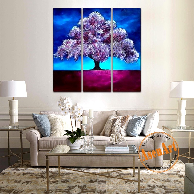 Abstract Wish Tree 3 Pieces Handpanted Oil painting On Canvas Classic Flower Wall Paintings Home Decor Picture for Living Room