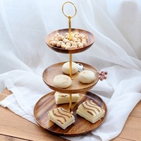 Wooden Three Tiers Fruit Plate Multi layer Round Snack Candy Cake Plate Home Decoration For Kitchen Fixture