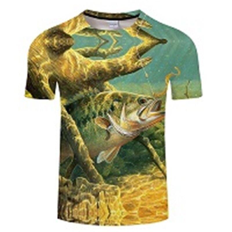 Новая футболка для рыбалки, стильная повседневная футболка с цифровым 3D принтом рыбы, мужская и женская футболка, летняя футболка с коротким рукавом и круглым вырезом, Топы И Футболки S-6XL - Цвет: TXKH433