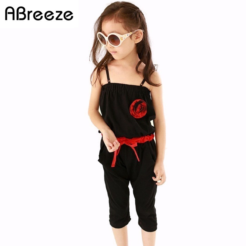 2 3 4 years jumpsuit kids girls overalls summer new solid 3D flower Jumpsuit for girls children Siamese trousers black