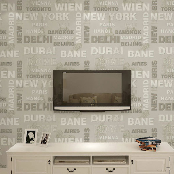 New Fashion 3D Non Woven Letter Design Wallpaper Modern Wallpapers Living  Room Papel Pintado Mural Wall Paper Wall Decor QZ067 Em Papéis De Parede De  ... Part 62