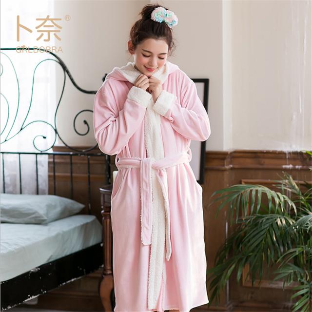 Grlbobra 2016 inverno novo flanela robes roupão mulheres doce lapela sólida senhoras com capuz manga comprida pijamas home wear s0022