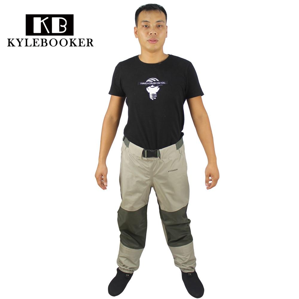 Fly Waders De Pêche Pantalon de pêche Respirant patauger taille pantalon, rafting porter cuissardes de chasse avec néoprène chaussettes poissons tackle