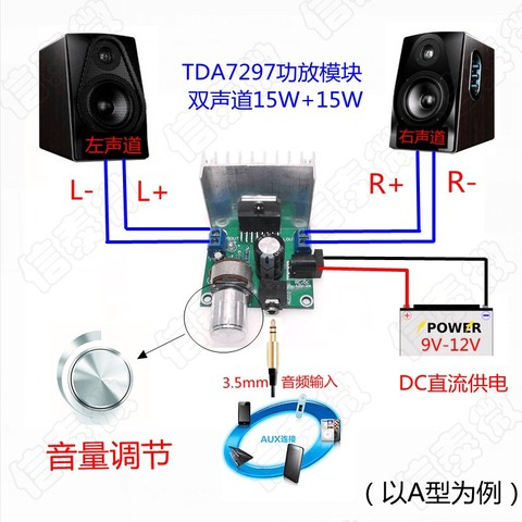1set TDA7297 amplifier board spare parts dc 12v grade 2.0 dual audio encoding 15w electronic Lahore