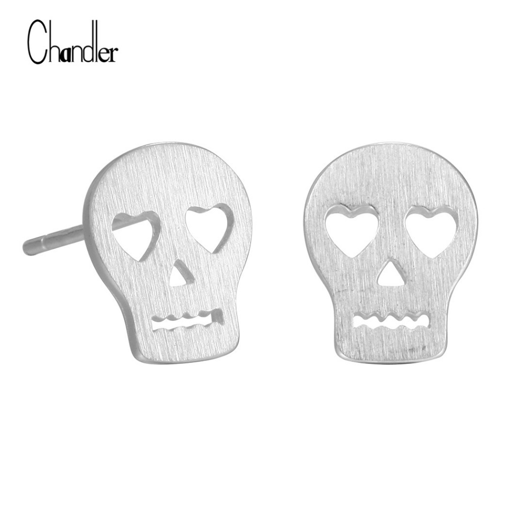 Punk Skull Skeleton Stud Earring Brushed Plain Love Rock Boho 925 Sterling Silver Jewelry For Women