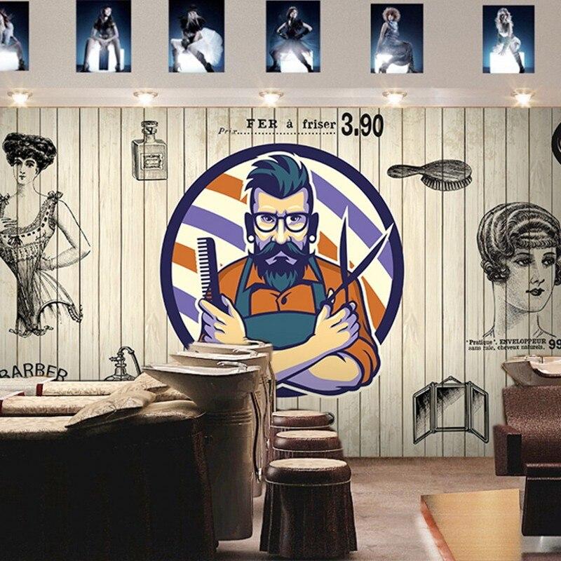 Personnalisé photo papier peint Européen de mode brique bois murale Salon De Coiffure beauté salon décoration fond d'écran