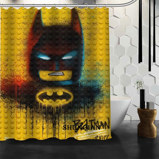 Custom Lego Shower Curtain High Quality Bathroom Accessories Polyester  Fabric Curtain With Holes
