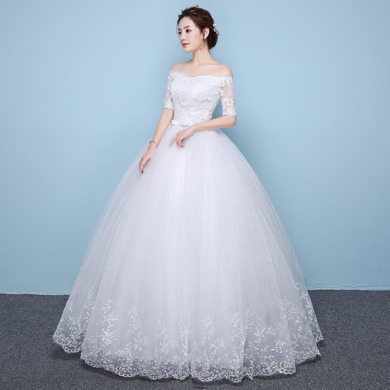 LAMYA Cheap Vintage Wedding Dresses With Lace Sleeve Princess Lace ...