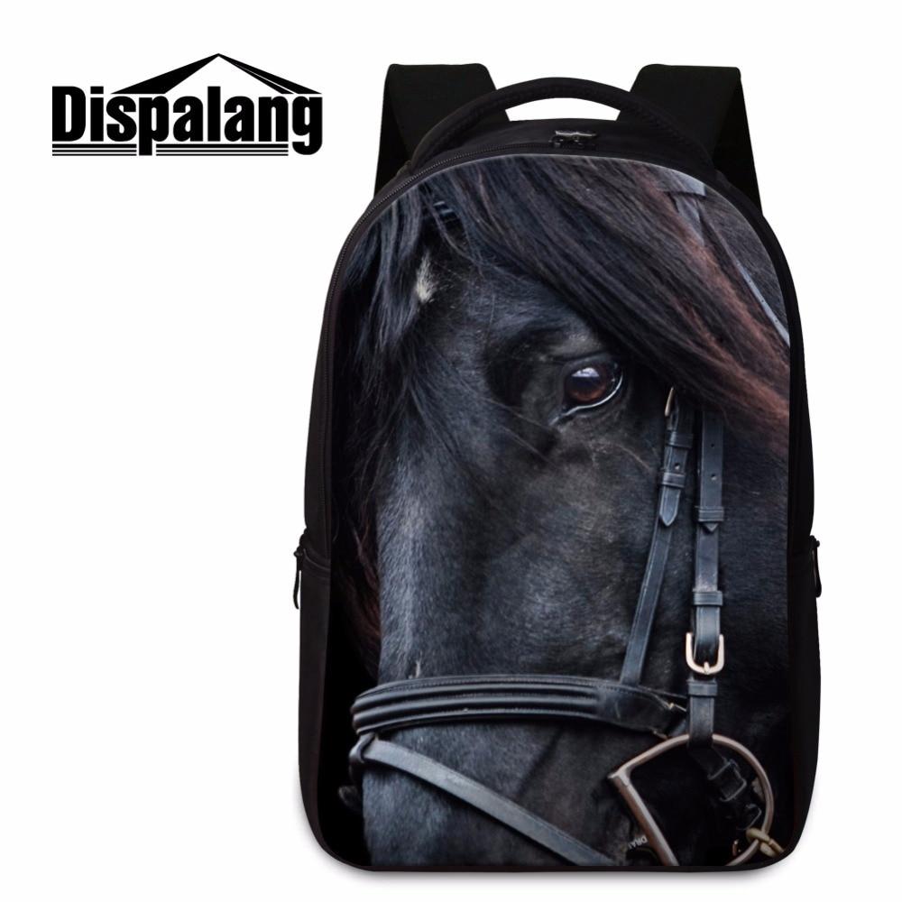 Animal Backpacks Pattern for Boys Middle School Students Bookbags Cool Horse Lightweight Back Pack Magaziner Black Shoulder bag